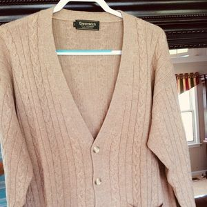 100% Cashmere Cable Knit Cardigan in Camel Sz. Lg